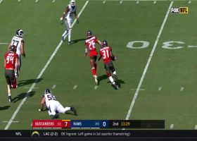 Jordan Whitehead delivers filthy stiff-arm after Goff INT