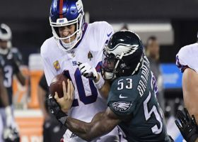 Nigel Bradham squares up Eli Manning for big sack
