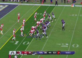 Lamar Jackson goes over 100 yards on slippery third-down keeper