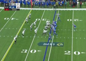 Jake Funk bulldozes through hole for powerful 12-yard pickup