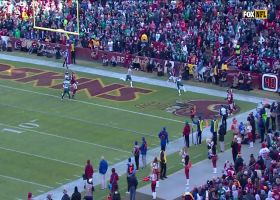Haskins lobs third-down TD dime to Sims in back of the end zone