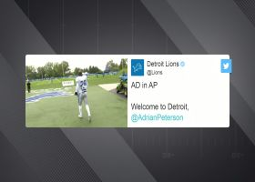 First look: Adrian Peterson in uniform at Lions practice