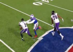 Bills' relentless pass rush drops Huntley for major loss on sack