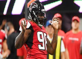 Takk McKinley shows off dance moves after sacking Cam