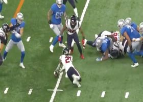 Bradley Roby recovers fumble after Tyrell Adams RIPS ball from RB