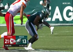 Sweat, Hargrave pressure leads to errant Mahomes pass, Eric Wilson INT