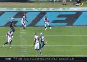 Damontae Kazee grabs first INT of season off Kyle Allen's pass