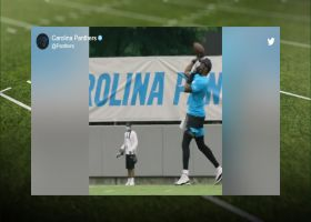 First look: Teddy B lofts deep dime to CMC at Panthers camp
