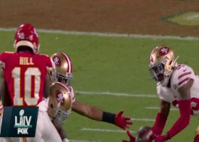 Tip-drill INT! Ball deflects off Tyreek Hill's hands for Niners' turnover