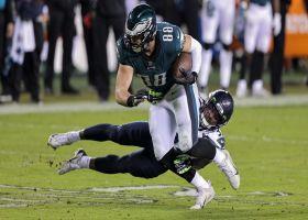 Dallas Goedert slips Jamal Adams on 27-yard catch and run