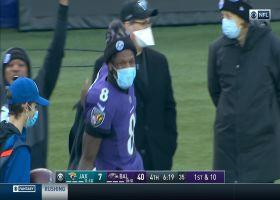 Lamar Jackson is HYPED after Tyler Huntley's 19-yard run
