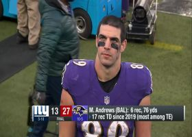 Mark Andrews reacts to Ravens' key win over Giants