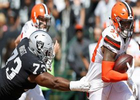 Raiders recover Baker Mayfield's fumble after strip sack