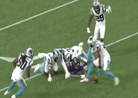 Steve Smith Sr. is hyped by Frankie Luvu's forced fumble