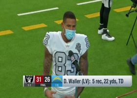 Darren Waller reacts to Raiders' final play in end zone to win the game