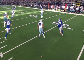 Prescott hits Dalton Schultz while on the move for 30-yard gain