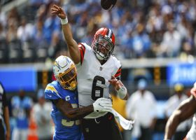 Derwin James sneaks up on Mayfield for strip-sack; Browns recover