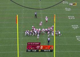 Matt Prater's 51-yard field goal sneaks just inside left upright