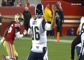 Goff lobs pinpoint floater to Higbee for big gain