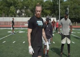 George Kittle runs drills with players at Tight End University