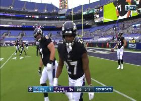 Lamar Jackson connects with J.K. Dobbins for successful two-point conversion
