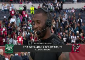 Kyle Pitts reacts to first NFL TD in London