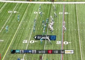 Strachan gets UP for Eason's top-shelf pass to snag strong 32-yard grab