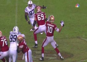 Jimmy Garoppolo loses grip on soaked ball for Colts' second INT