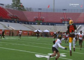 Frank Darby adjusts for great grab at Senior Bowl practice