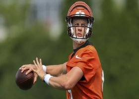 Joe Burrow works on throws during Bengals training camp