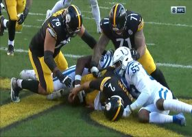 Colts swarm Mason Rudolph on strip-sack for a safety