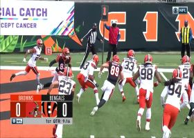 Red-zone INT! Browns pick off Burrow's pass via tip in end zone