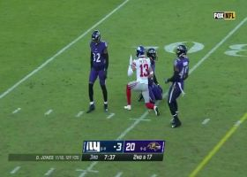 Dante Pettis' first catch as a Giant goes for a first down