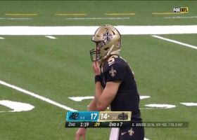 Brees rainbows 18-yard sideline dime to Deonte Harris