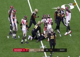 Marcus Davenport punches ball loose from Winston during sack