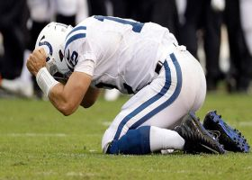 Luck pounds the ground after key incompletion