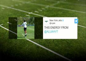 Alijah Vera-Tucker hypes up fans at Jets training camp