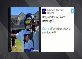 Lamar, Harbaugh rock matching shirts at practice for HC's birthday