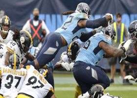Derrick Henry launches over the goal line for aerial TD