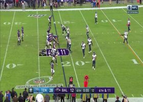 Lamar's fourth-down throw goes through Boykin's hands incomplete