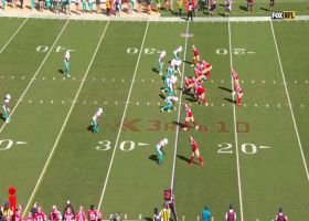 Bobby McCain runs under Jimmy G's floater for Fins INT