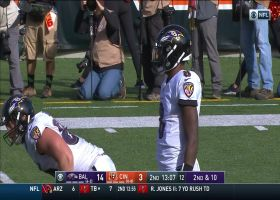 Lamar Jackson's submarine sling hits Hayden Hurst in stride