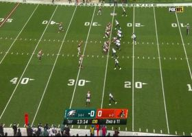 Wentz shows great touch on scrambling pass to Goedert for 22 yards