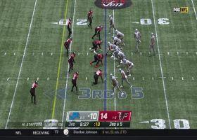 Bird of prey: Deion Jones soars over Stafford on third-down sack