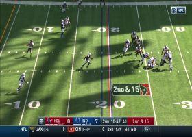 Sheard breaks through the line for the sack