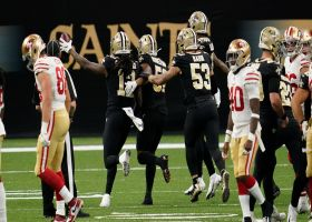 Saints recover muffed punt after ball bounces off Webster's shoulder pad
