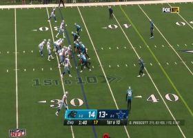 Amari Cooper takes Prescott's pass to midfield logo for 20-yard pickup