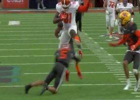 Hurdle alert! Quintin Morris goes over DB on 35-yard catch and run