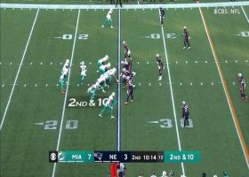DeVante Parker prances across Patriots midfield logo on 23-yard gain