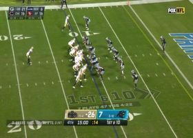 Brees throws a strike in the seam to Carr for TD
